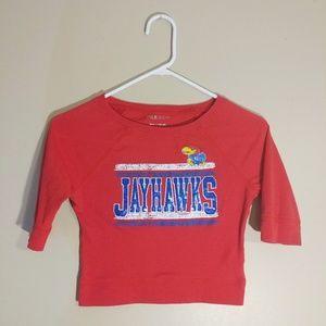 5th & Ocean Red Jayhawks 3/4 Sleeve Shirt